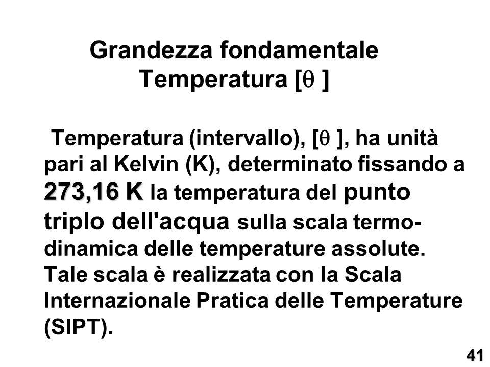 Grandezza fondamentale Temperatura []